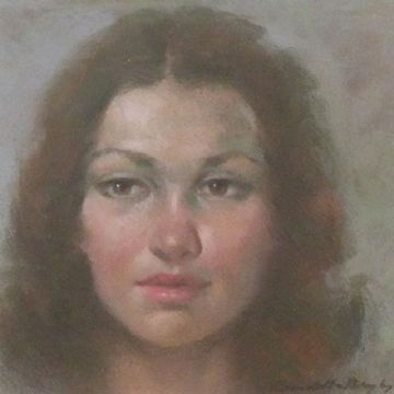 Ernest Bendell-Bayly Original Pastel Painting Portrait Of A Woman